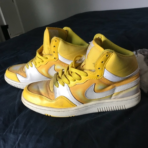 white & yellow spray paint effect sneakers nike